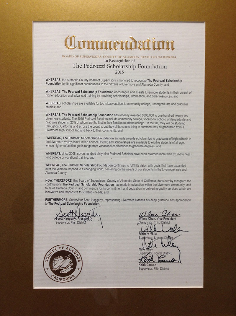 Alameda County Commendation
