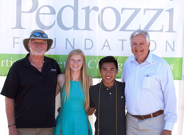 Scholarship sponsors Jay Davis and Art Pontau with scholarship recipients.