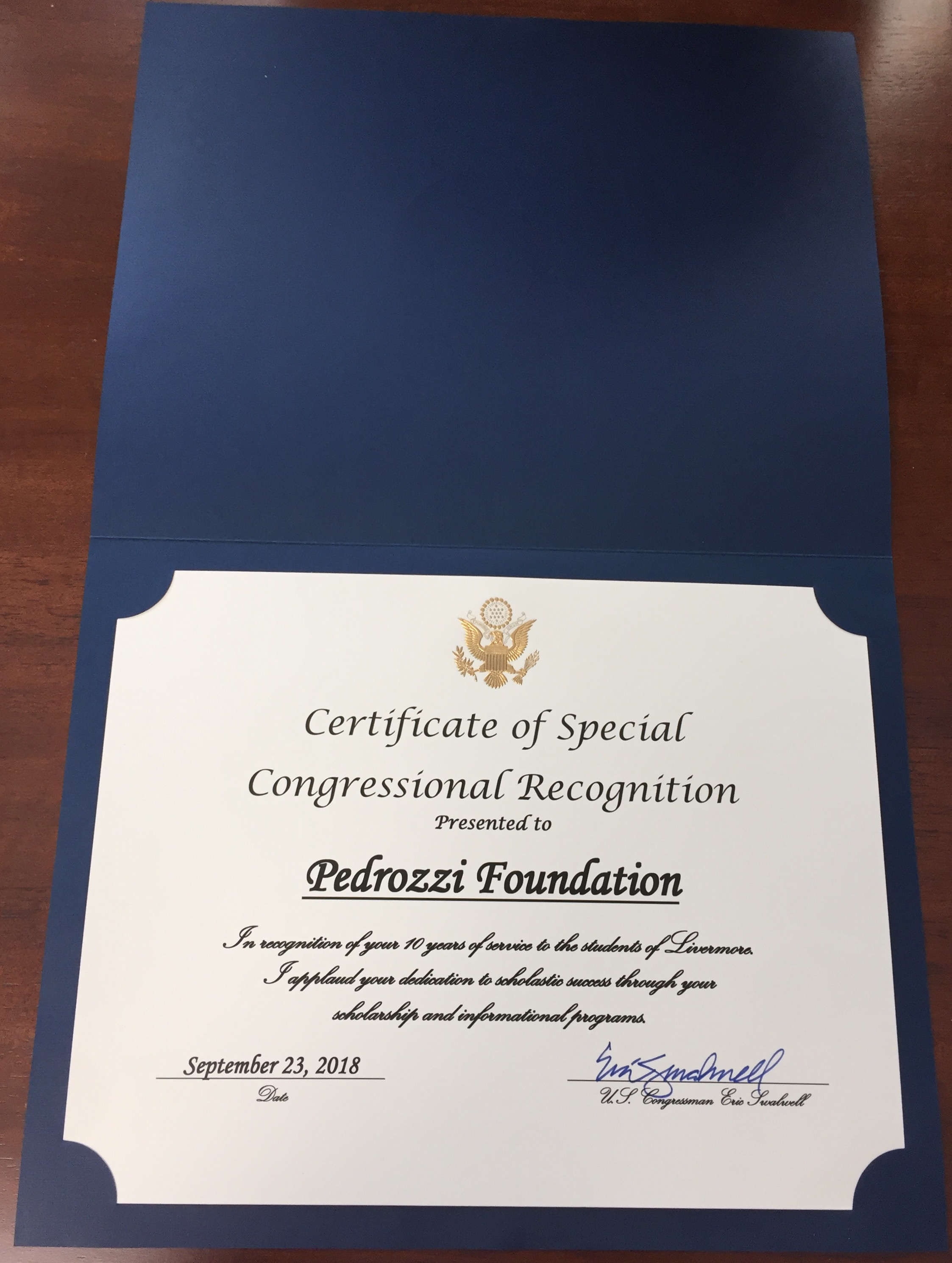 2018 Certificate of Special Congressional Recognition