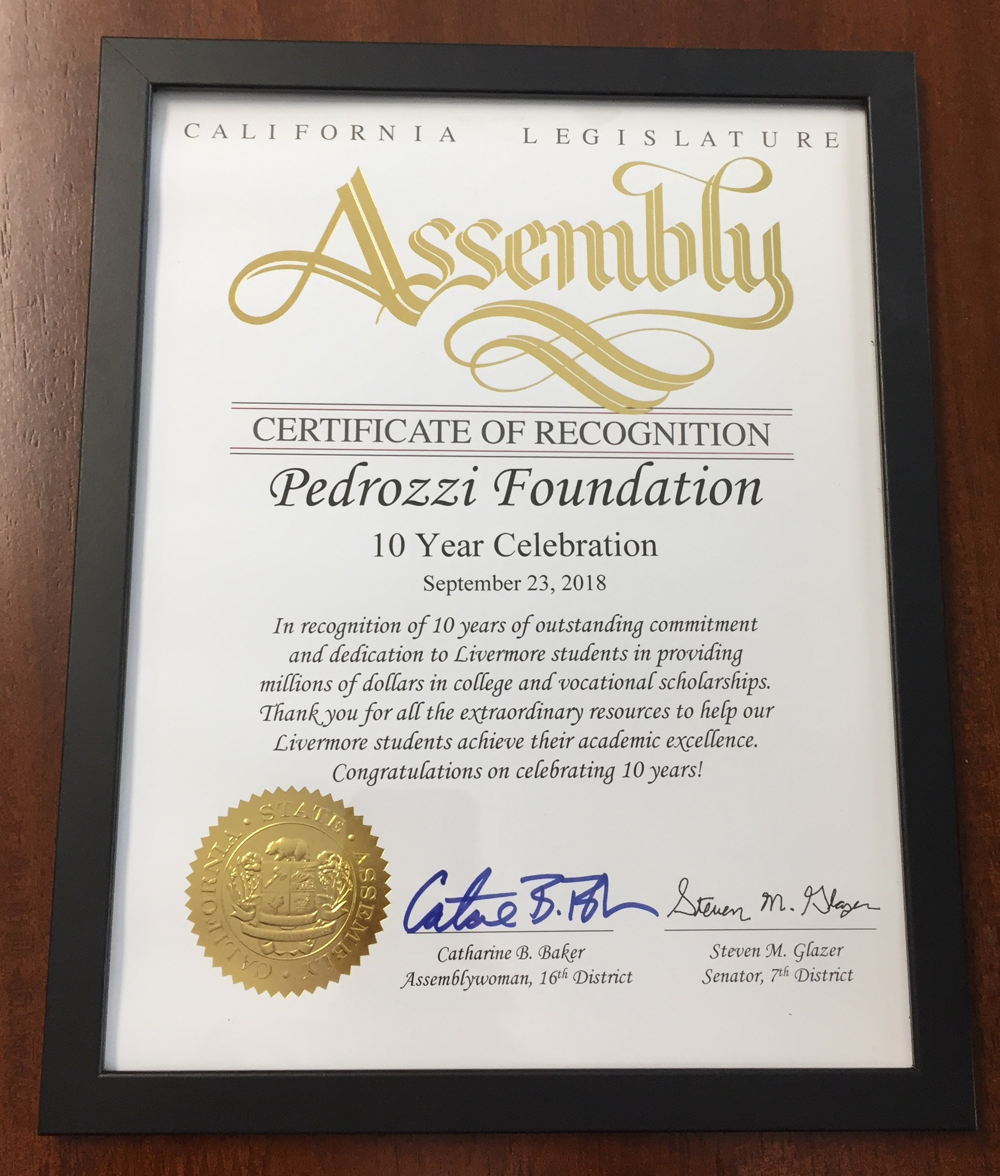2018 California Legislature Assembly Certificate of Recognition