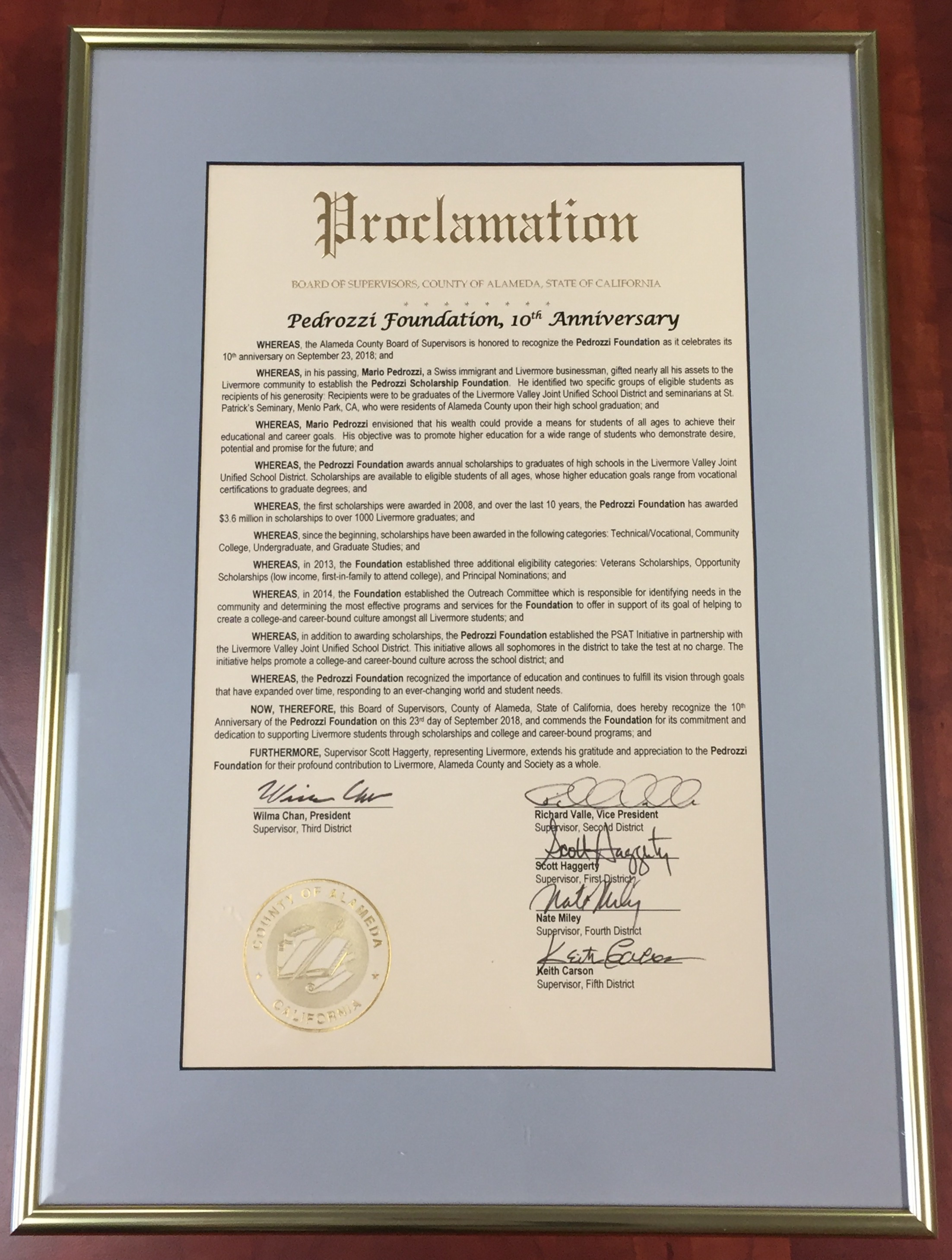 2018 Proclamation of the Alameda County Board of Supervisors
