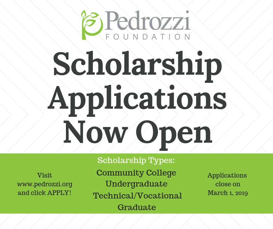 Pedrozzi Scholarship Applications Open for 2019